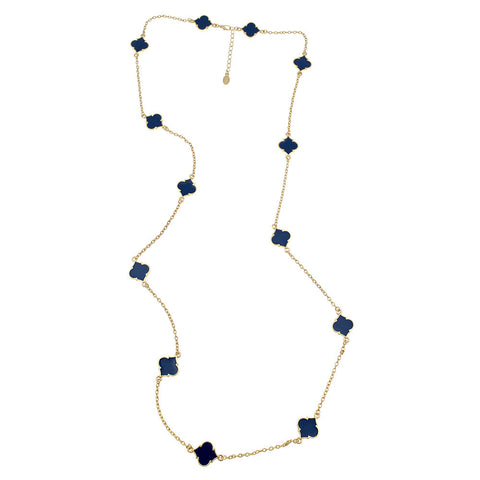 Navy Long Spade Necklace