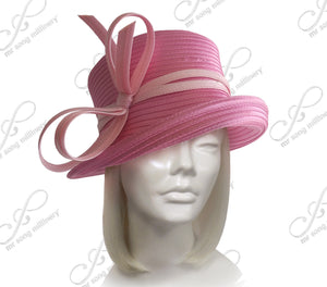 Mr. Song Millinery Medium Tiffany Brim Hat With Multi-Loop Knot Bow - 5 Colors