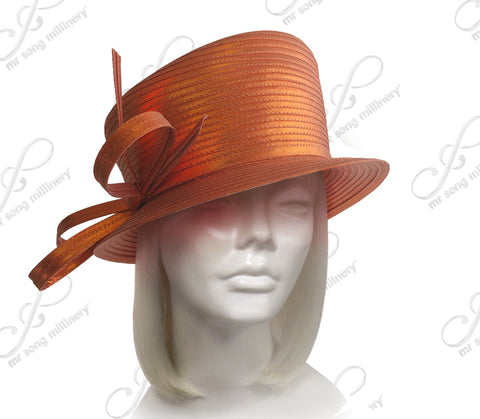 Slant-Crown Hat With Multi-Loop Knot Bow