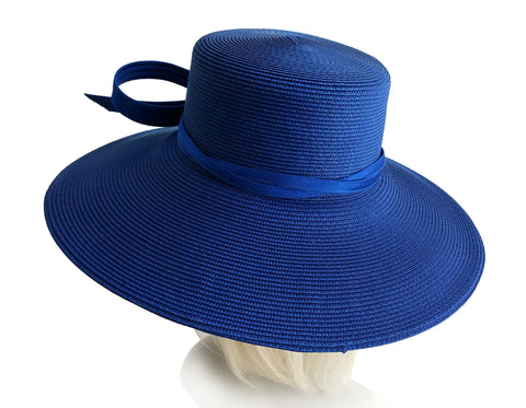 Royal Ascot Hat With Tiffany Brim With Knotted Loop Bow - DH221 Blue