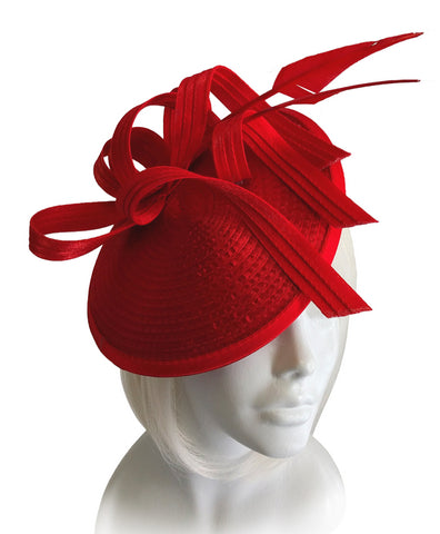 Royal Ascot Fascinator - Dish Profile With Ribbon And Feather Accent