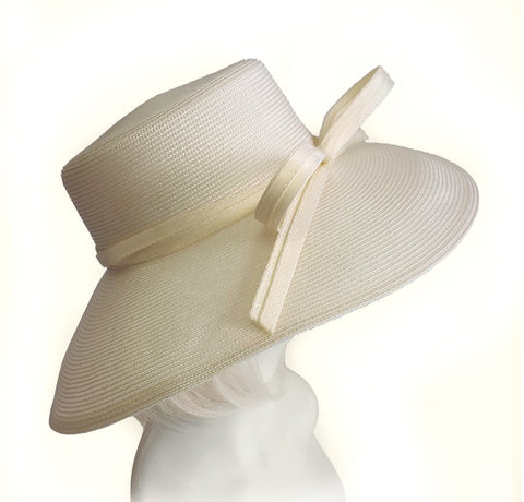 Royal Ascot Hat With Tiffany Brim With Knotted Loop Bow - DH221 Ivory