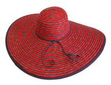 Wide-Brim Two Summer Floppy Straw Sun Hat Red/Purple