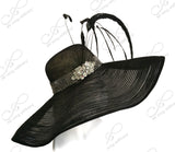 Black Royal Ascot Sinamay & Crin Hair Hat With Feathers
