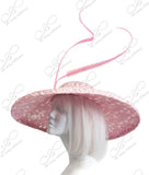 Royal Ascot Sinamay & Lace Hair Hat-inator With Feathers - Pink