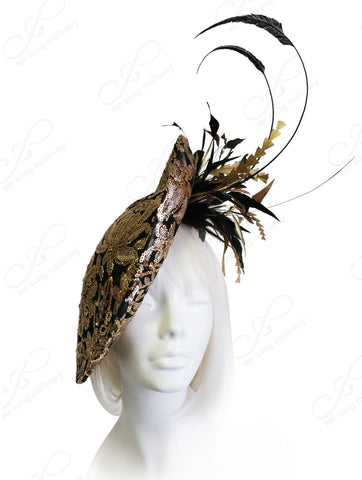 All-Season Profile Dish Fascinator With Metallic Lace - 2 Colors