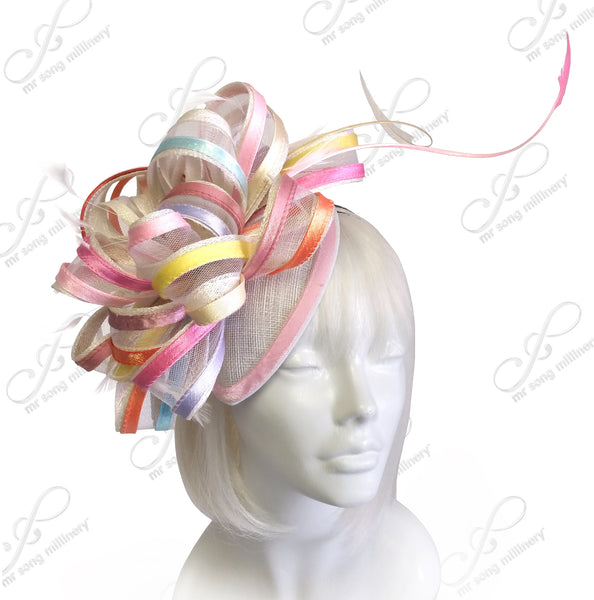 Mr. Song Millinery Multi-Colored Satin Crin Fascinator Headpiece - Multi Pastel