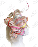 Multi-Colored Satin Crin Fascinator Headpiece - Multi Pastel