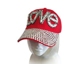 Rhinestone Encrusted Fitted Baseball Bib-Cap - 3 Colors