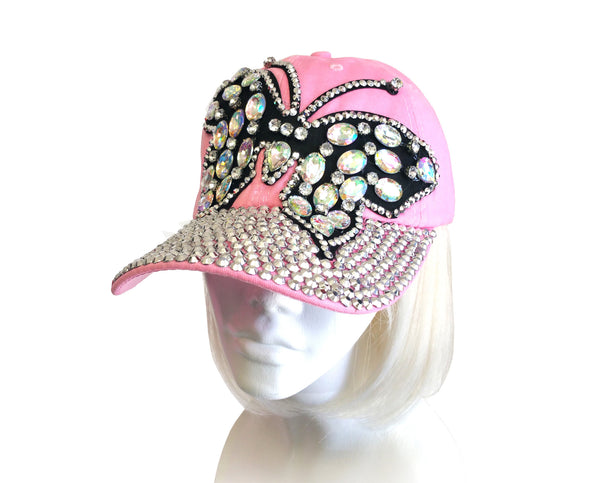 "Mr. Song Millinery Rhinestone Encrusted"" Butterfly"" Fitted Baseball Bib-Cap - Pink"