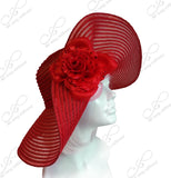 Wide-Floppy Summer Derby Hat - Red