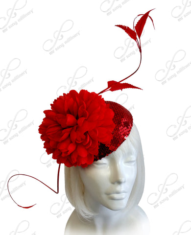 Royal Ascot Hat Beanie Lace Fascinator Signature Accent - Red