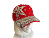 Rhinestone Encrusted Fitted Baseball Bib-Cap - 2 Colors