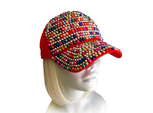 Mr. Song Millinery Rhinestone & Cabochon Encrusted Fitted Baseball Bib-Cap - Red