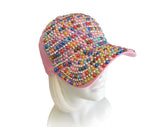 Rhinestone & Cabochon Encrusted Fitted Baseball Bib-Cap - Red