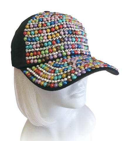 Rhinestone And Cabochon Encrusted Fitted Baseball Bib-Cap - 4 Colors
