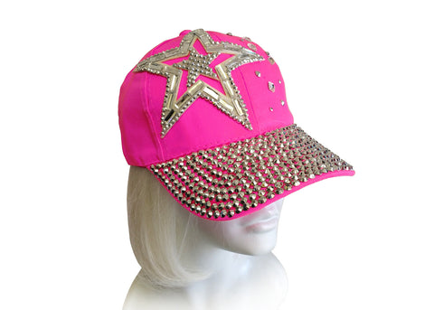 Hot Pink - Rhinestone Encrusted Fitted Baseball Bib-Cap