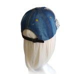 Denim - Rhinestone Encrusted Fitted Baseball Bib-Cap
