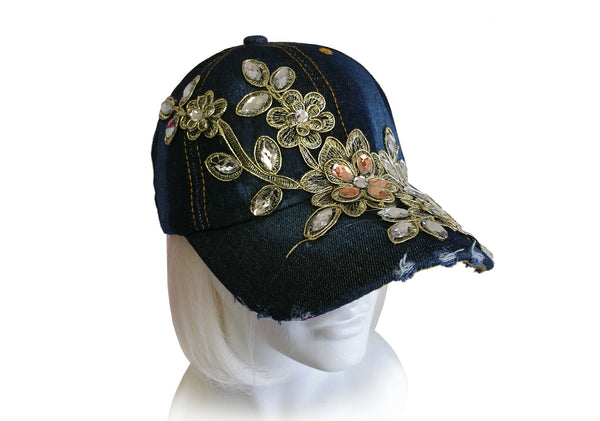 Mr. Song Millinery Jewel Rhinestone And Embroidered Lace Fitted Baseball Bib-Cap - Denim