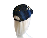 Jewel Rhinestone And Embroidered Lace Fitted Baseball Bib-Cap - Denim