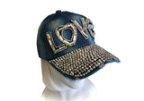Rhinestone Encrusted Fitted Baseball Bib-Cap - Red