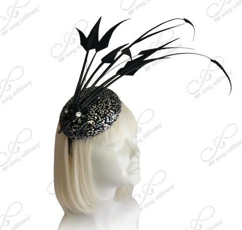 Royal Ascot Hat Beanie Lace Fascinator Crystal Accent - Black