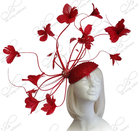 Meduse Amuse Grande Beanie Fascinator - Red