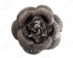 Crystal Hamatite Rhinestone Flower Brooch Pin