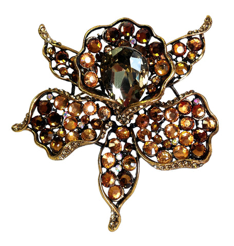 Gorgeous 'Calla Lily' Rhinestone Brooch Pin - 2 Colors