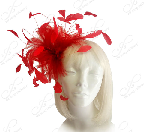 Coque Feather Fascinator Hairclip - Red