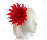 Starburst Lotus Feather Fascinator Hairclip - Red