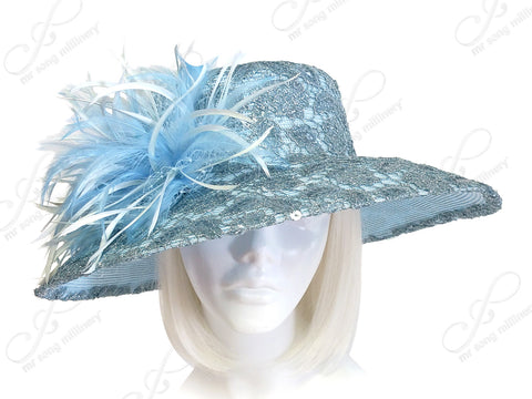 Classic Rounded Crown Wide Width Tiffany Brim Lace Hat - Aqua Blue
