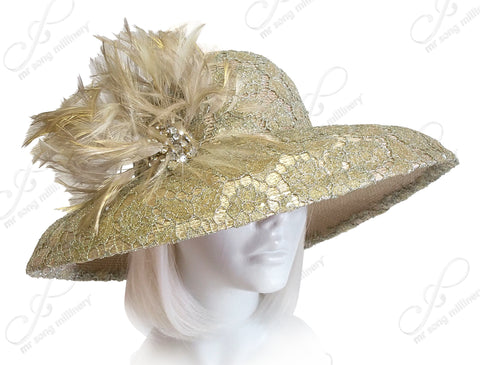 Round Crown Wide Width Tiffany Brim Lace Hat - Gold