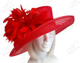 All-Season Sinamay & Crin Hat With Premium Feathers - Red CLOSEOUT