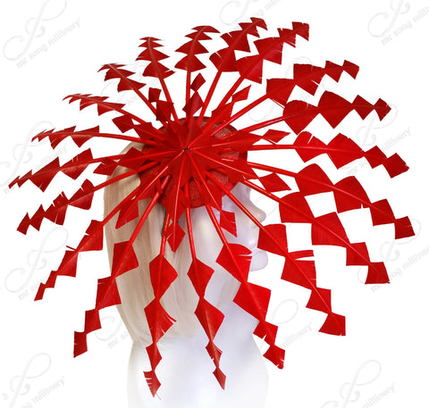 Starburst Umbrella Fascinator - Red