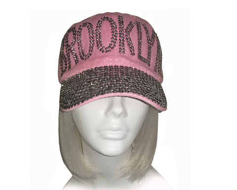 "Mr. Song Millinery Rhinestone Encrusted Fitted ""Brooklyn"" Baseball Bib-Cap - Pink"
