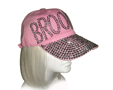 "Rhinestone Encrusted Fitted ""Brooklyn"" Baseball Bib-Cap - Pink"