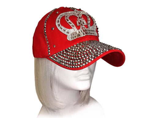 Mr. Song Millinery Rhinestone Encrusted Fitted Baseball Bib-Cap - Red