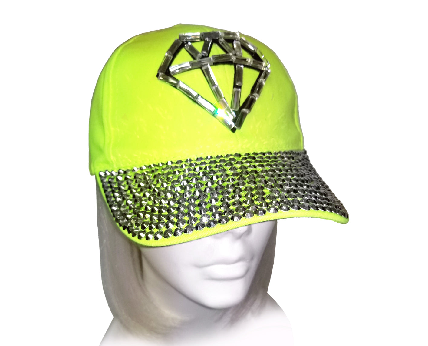 "Mr. Song Millinery Rhinestone Encrusted ""Diamond"" Fitted Baseball Bib-Cap - Neon Green"