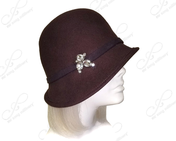 Mr. Song Millinery Felt Bowler Hat with Bias Slant Brim - Burgundy