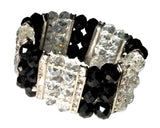 Layered Bracelet Bangle - Jet/Crystal