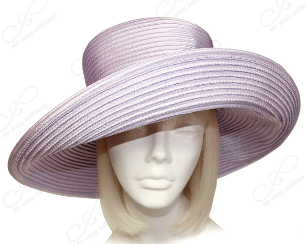 Mr. Song Millinery All-Season Satin-Crin Classic Crown Wide Tiffany Brim Hat Body