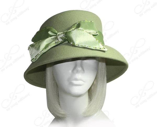 Mr. Song Millinery Soft-As-Cashmere Felt Bucket Hat With Bow - Sage Green