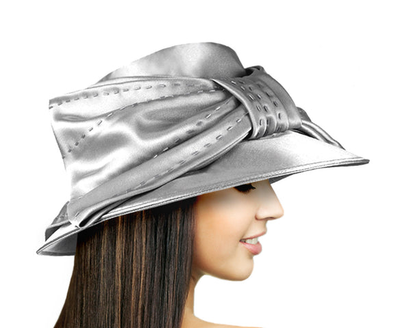 Mr. Song Millinery Satin Medium Brim with Large Bow - 2 Colors