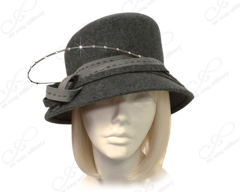 Mr. Song Millinery Luxuriously Soft Felt Cloche Hat With Brim - Assorted Colors