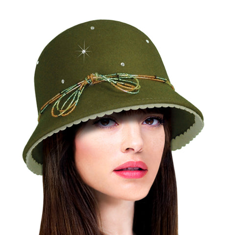 Cashmere-Soft Felt Bell Cloche Hat W/ Rhinestones - Assorted Colors