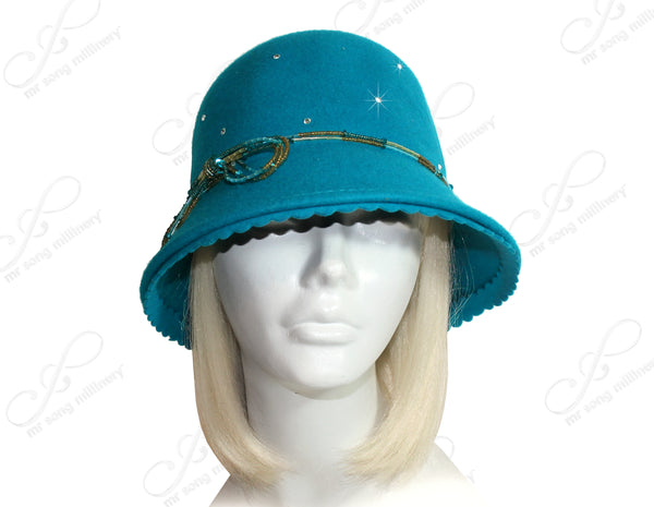 Mr. Song Millinery Cashmere-Soft Felt Bell Cloche Hat W/ Rhinestones - Assorted Colors