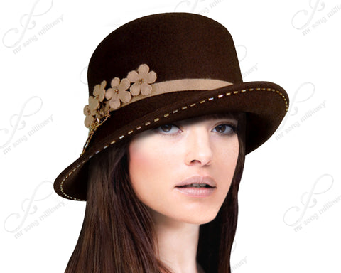 5ac3aa73ab0be Soft-As-Cashmere Felt Bucket Fedora Hat With Turned Up Brim - Assorted  Colors