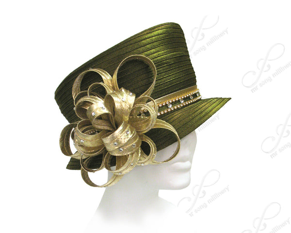 Mr. Song Millinery Satin-Crin Slant Crown Small Brim Hat Body - Assorted Colors