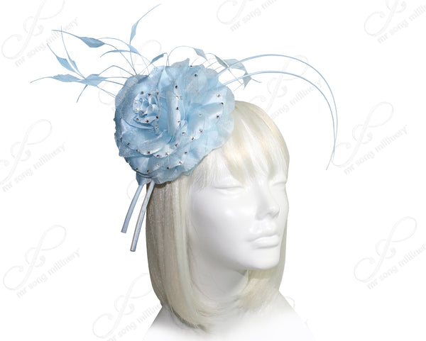 Mr. Song Millinery All-Season Floral Profile Dish Fascinator - Ice Blue